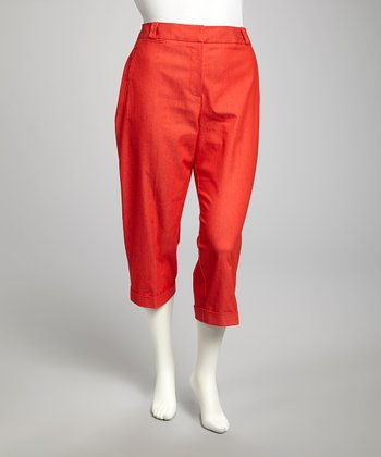 Flame Scarlet Plus-Size Cropped Pants