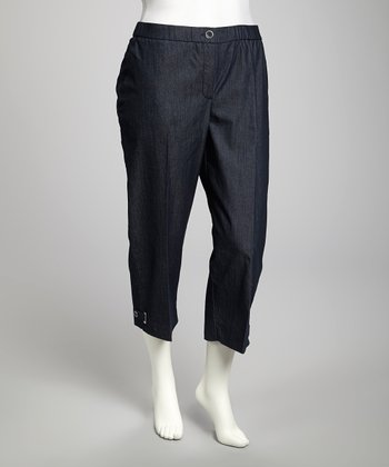 Dark Navy Plus-Size Cropped Pants