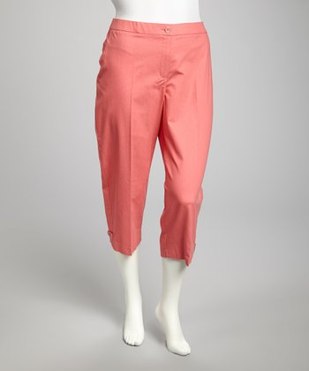 Hot Coral Plus-Size Cropped Pants