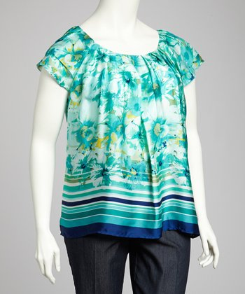Navy & Aqua Flutter-Sleeve Top - Plus