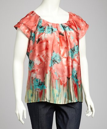Peach & Taupe Flutter-Sleeve Top - Plus