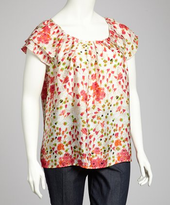 Pink & Orange Flutter-Sleeve Top - Plus