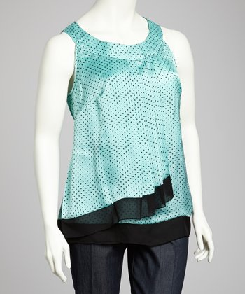 Mint & Black Plus-Size Sleeveless Top