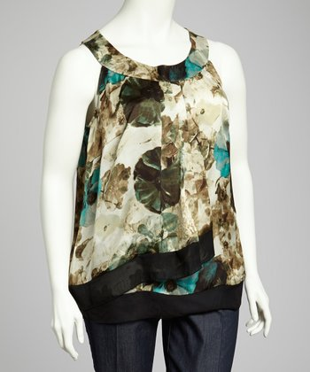 Mint & Taupe Plus-Size Sleeveless Top