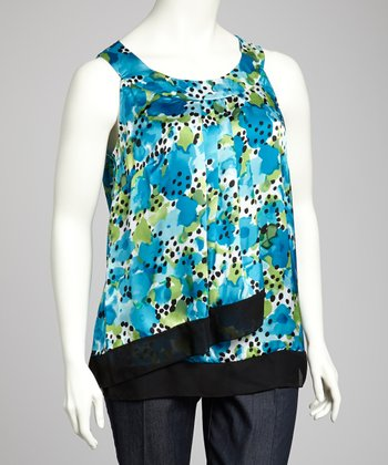 Turquoise & Green Plus-Size Sleeveless Top