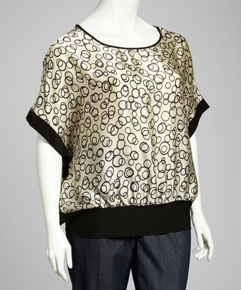 Black & Taupe Dolman Top - Plus
