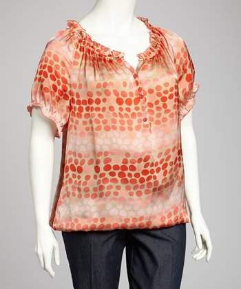 Orange & Beige Ruffle Plus-Size Top
