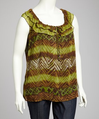 Green & Brown Sleeveless Top - Plus
