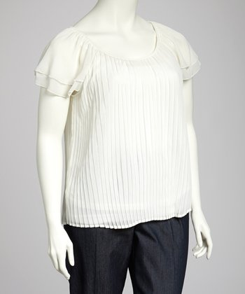 Ivory Peasant Top - Plus