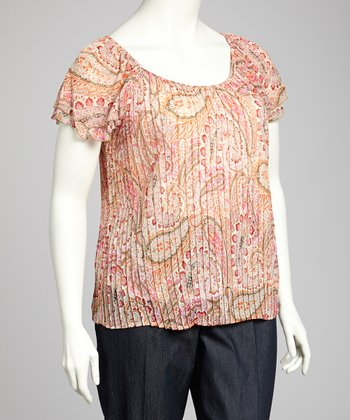 Pink & Taupe Peasant Top - Plus
