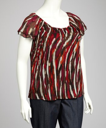 Red Stripe Plus-Size Peasant Top