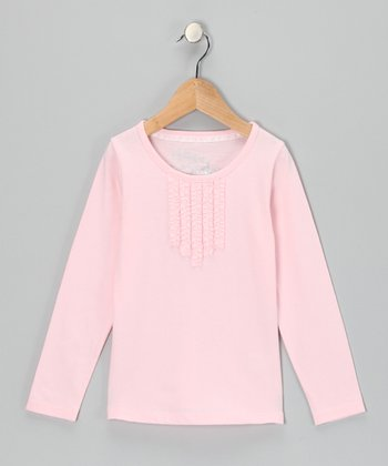 Light Pink Pleated Long-Sleeve Top - Toddler