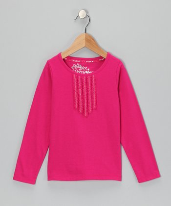 Pink Pleated Long-Sleeve Top - Toddler