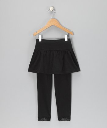 Black Skirted Leggings - Toddler & Girls