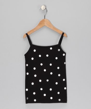 Black Polka Dot Foil Tank - Girls