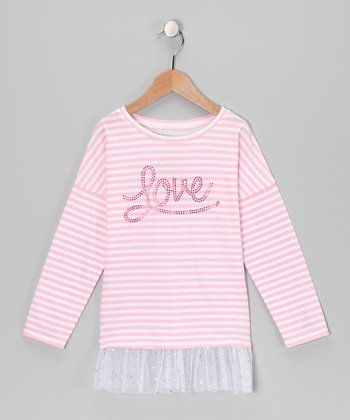 Pink & White Stripe 'Love' Ruffle Tunic - Girls