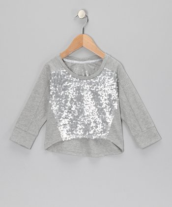 Gray Sequin Hi-Low Top - Girls