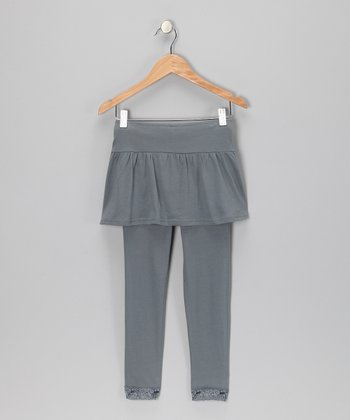 Charcoal Gray Skirted Leggings - Girls