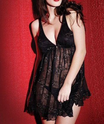 Black Film Noir Babydoll Chemise & G-String Set - Women