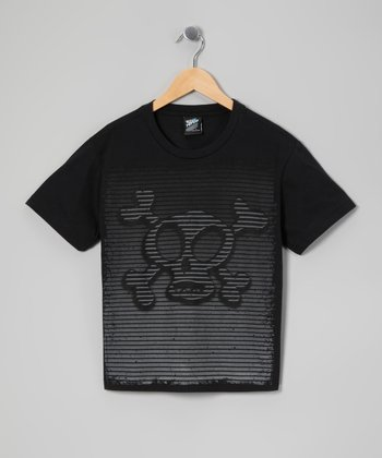 Black Stripe Skull Tee - Boys
