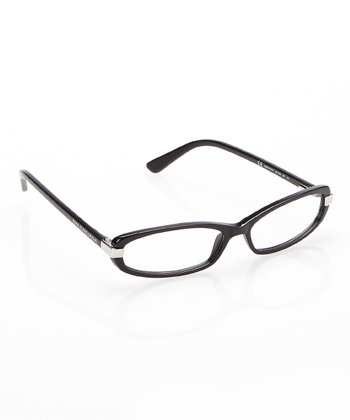 Black & Silver Oval Eyeglasses