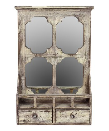 Whitewash Weathered Wall Mirror