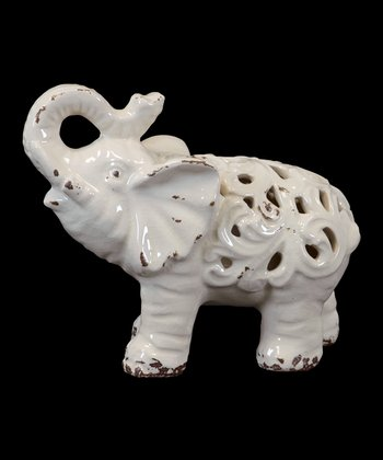 Cream Ceramic Elephant Figurine
