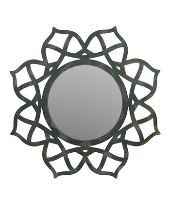 Wood Geometric Flower Mirror