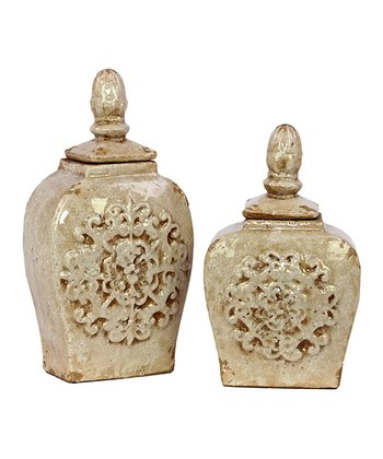 Antique White Ceramic Jar Set