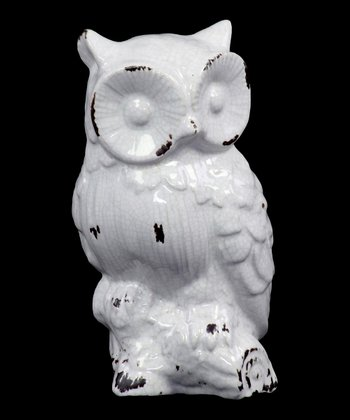 Antique White Owl Figurine