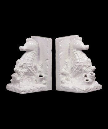 White Sea Horse Bookends