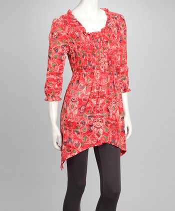 Red Floral Sidetail Tunic