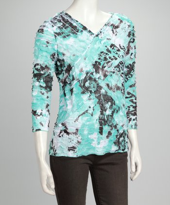 Black & Mint Abstract Top