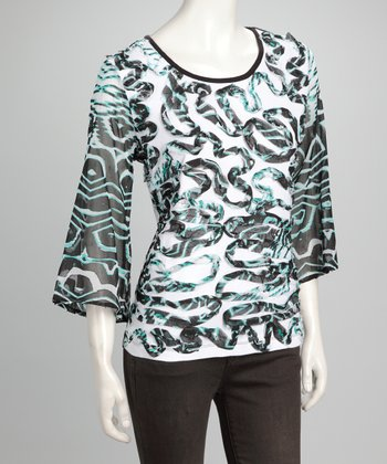 Black & Mint Swirl Top