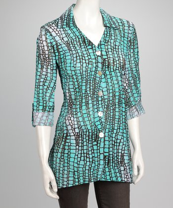 Black & Mint Scales Button-Up Top