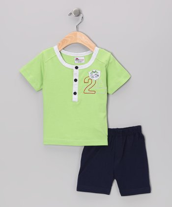Green '2' Henley & Navy Shorts - Infant & Toddler
