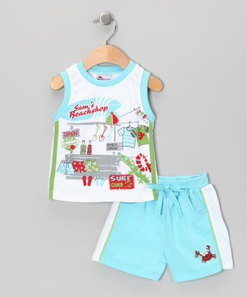 White & Blue Boat Tank & Shorts - Infant & Toddler