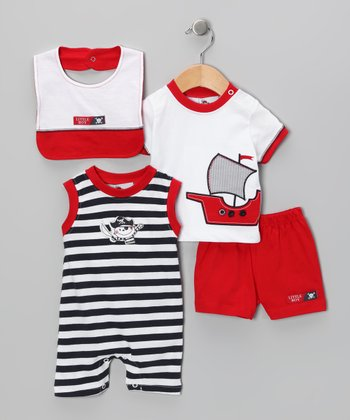 Red & White Ship Playsuit Set - Infant