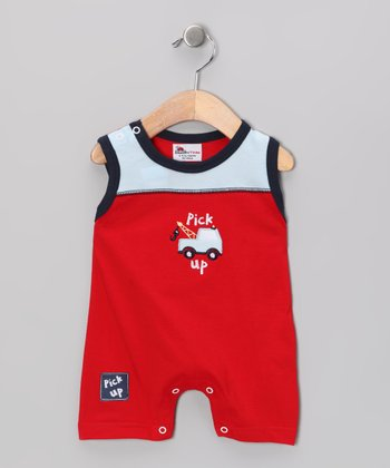 Red & Blue Truck Playsuit - Infant