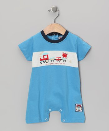 Blue Choo Choo Playsuit - Infant