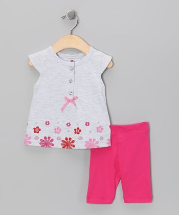 Gray & Pink Floral Top & Pants - Infant