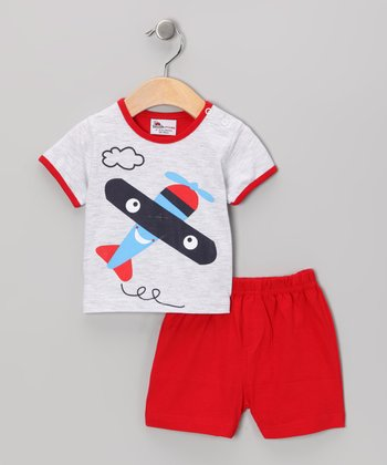 Gray & Red Airplane Tee & Shorts - Infant