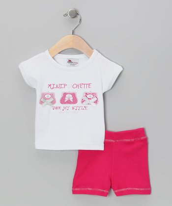 White & Pink Tee & Shorts - Infant