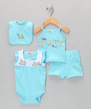Blue Butterfly Bodysuit Set - Infant