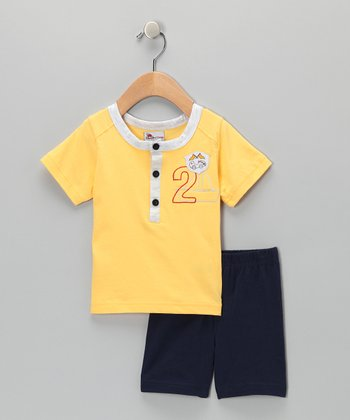 Yellow Sailboat Henley & Navy Shorts - Infant & Toddler