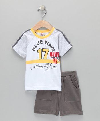 Yellow 'Blue Ways' Tee & Shorts - Infant & Toddler