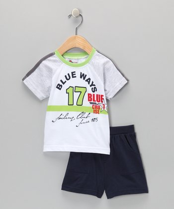 Green 'Blue Ways' Tee & Shorts - Infant & Toddler