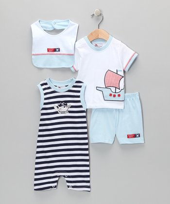 White & Dark Blue Pirate Ship Romper Set - Infant
