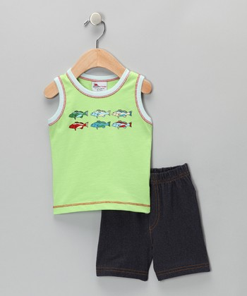 Green Fish Tank & Shorts - Infant