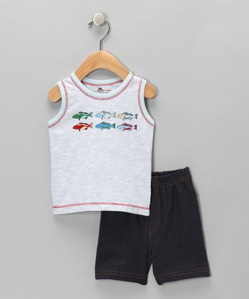 Gray Mélange Fish Tank & Shorts - Infant
